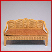 Tootsie Toy Dollhouse Cane Style Sofa  Tan 1930s 1/2&quot; Scale