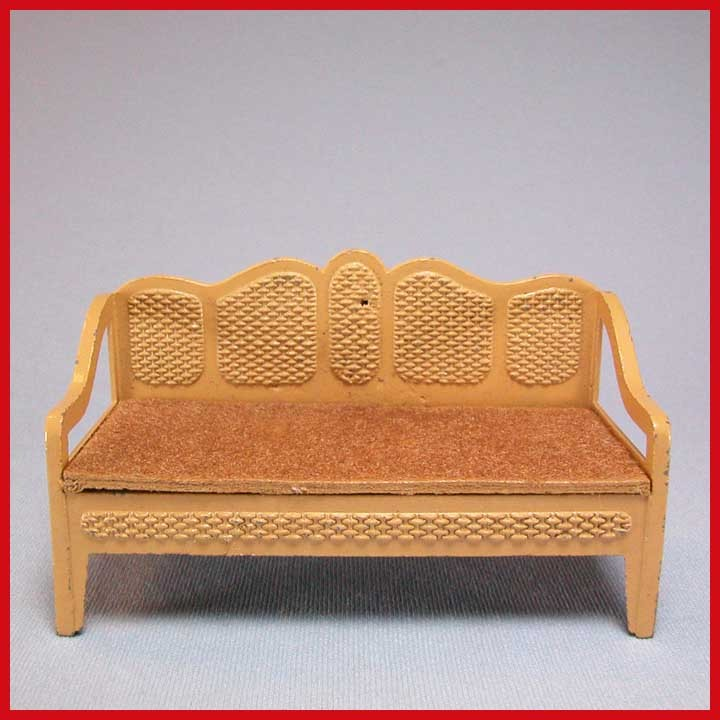 "Tootsie Toy Dollhouse Cane Style Sofa – Tan 1930s 1/2"" Scale"