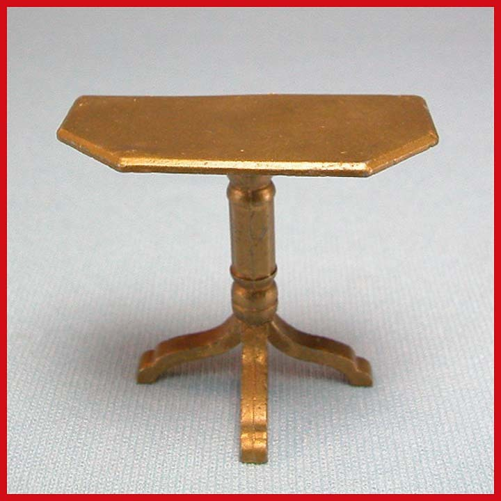 "Tootsie Toy Dollhouse End Table – Gilt 1930s 1/2"" Scale"