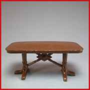 Tootsie Toy Dollhouse Dining Room Lattice Table  Brown 1930s 1/2&quot; Scale