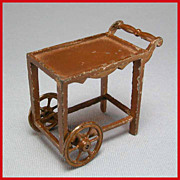 Tootsie Toy Dollhouse Tea Cart  Brown 1920s 1/2&quot; Scale