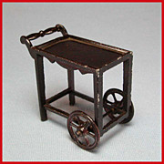 Tootsie Toy Dollhouse Tea Cart  Dark Brown 1920s 1/2&quot; Scale