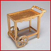 Tootsie Toy Dollhouse Tea Cart Gilt Finish 1920s 1/2&quot; Scale MINT Condition!