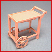 Tootsie Toy Dollhouse Tea Cart  Pink 1920s 1/2&quot; Scale