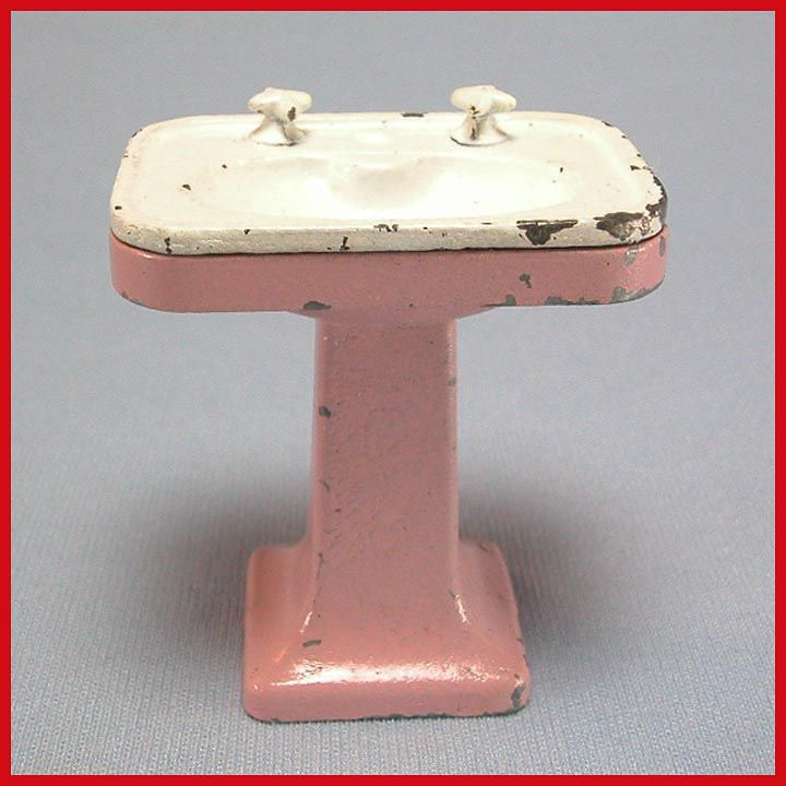 Tootsie Toy Dollhouse Pedestal Sink Lavender White 1930s 1 2 Scale