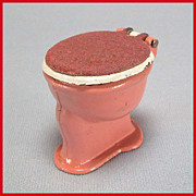 Tootsie Toy Dollhouse Toilet  Dusty Pink & White with Flocked Lid 1930s 1/2&quot; Scale