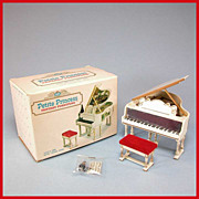 Petite Princess Dollhouse #4425-5 Royal Grand Piano, Bench & Accessories in Box by Ideal 1964