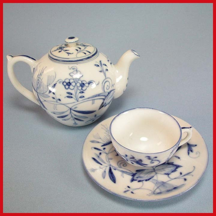 German Child's Blue Onion China Tea Pot, Cup & Saucer Set Early 1900s