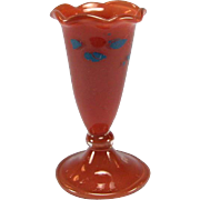 Antique Dollhouse Miniature Hand Blown German Red Glass Footed Vase with Blue Decoration Early