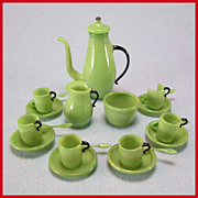 "Antique Dollhouse Green Glass Tea Set with Seldom Found Spoons Early 1900s 1"" Scale"