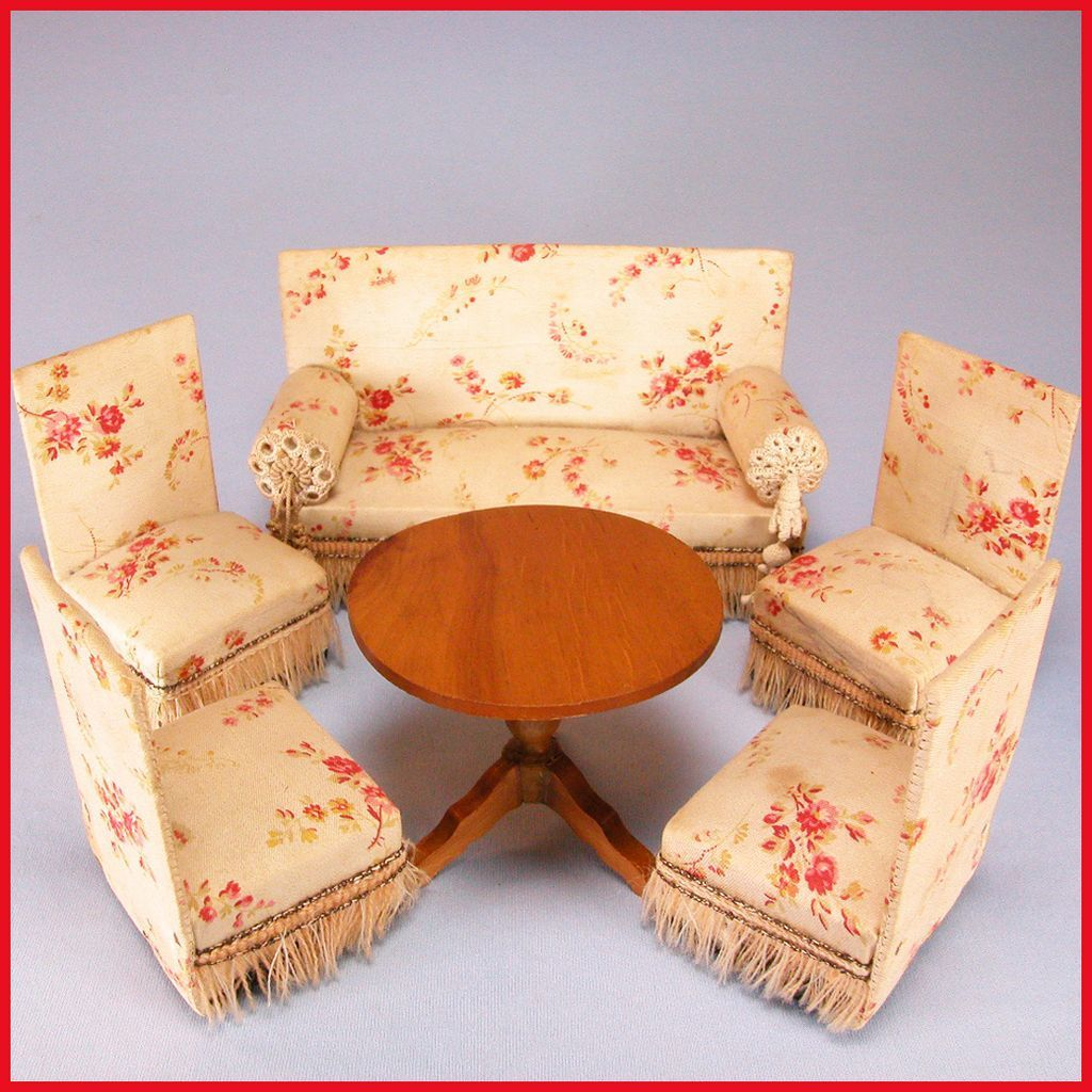 Schneegas 5 Pc Upholstered Parlor Set with Round Table  : 62660L from rubylane.com size 1024 x 1024 jpeg 168kB