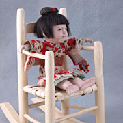 Antique wood doll rocking chair cream paint woven seat 10""