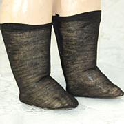 Antique fine knit black doll socks  2 1/4 inch foot