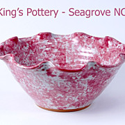 Seagrove NC King's Pottery pink splatter  fluted bowl 1996
