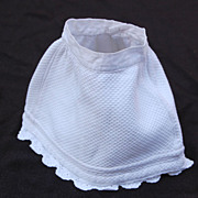 "Old doll skirt or slip  white flannel lined pique  10"" waist"