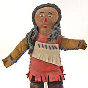 New York Tuscarora leather beaded Indian doll 9""