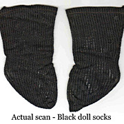 "Antique German doll socks black knit 3"" foot length"