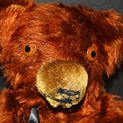 "SALE 1930s 14"" Knickerbocker Well-Loved Jointed Auburn Mohair Teddy Bear"