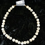 Beaded glass antique doll necklace ivory