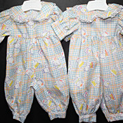 SALE PENDING Two Darling Custom-made in USA Rompers for your Vintage Vinyl Babies