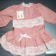 SALE Red gingham drop-waist dress for antique bisque doll + earrings to match