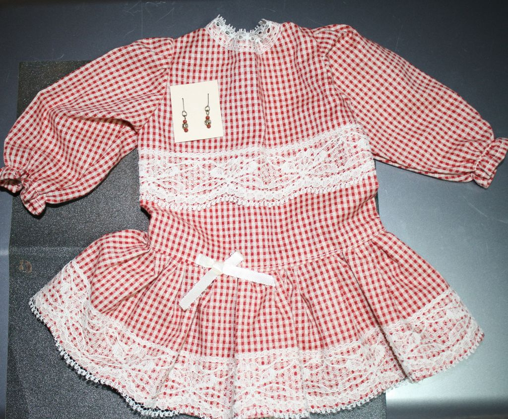 Red gingham drop-waist dress for antique bisque doll + earrings to match