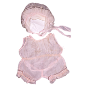 Antique Light pink w/black trim Doll Romper and Bonnet for Bisque baby