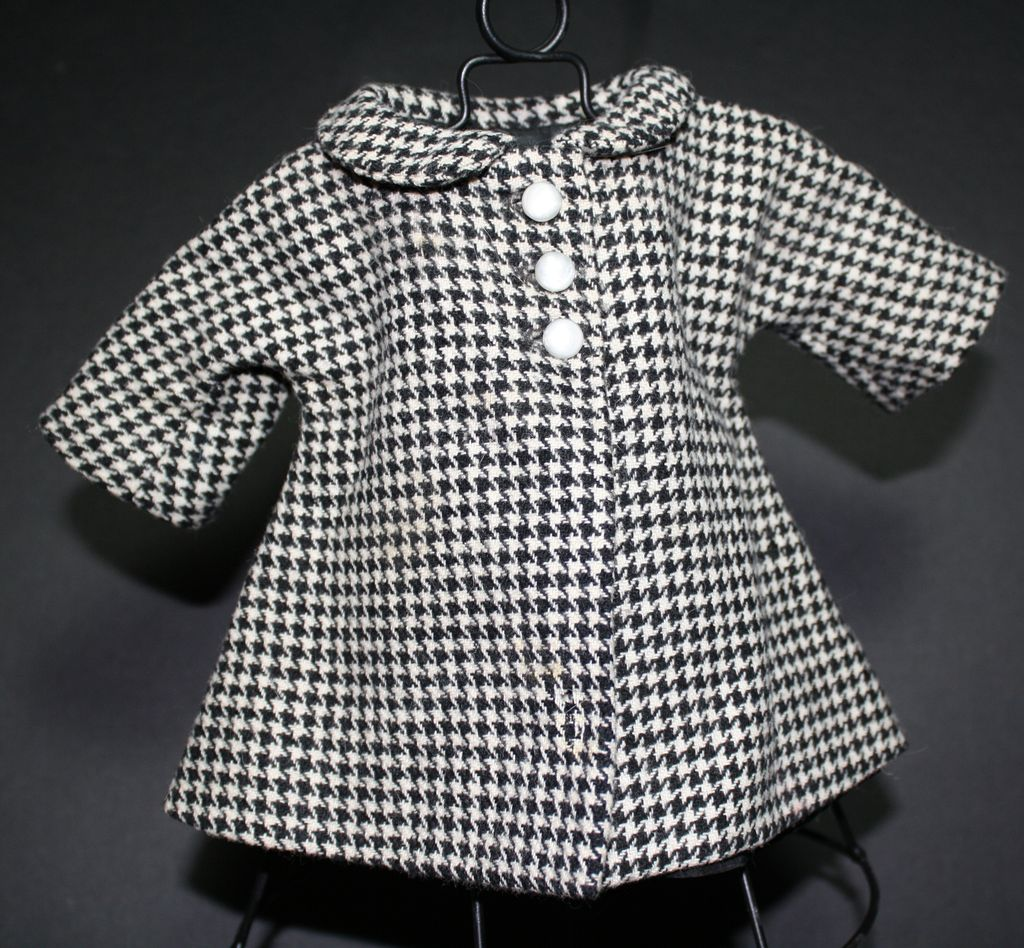 Lovely 1930s-40s lined WOOL houndstooth doll coat for vintage or antique doll