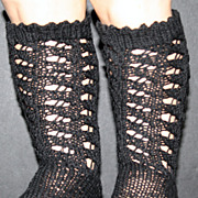 Black Cotton Knit Socks for Antique Bisque Doll