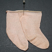 Vintage Peach Socks from 1920s Composition Doll