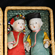 "Boxed Set of Jointed Bisque Dolls, Chinese couple ""made in Japan"""