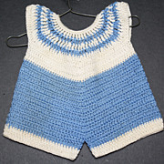 Vintage Blue and White Knit Romper for a Composition Toddler Doll