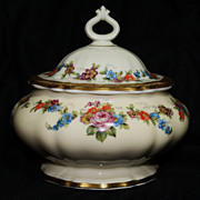 Porcelain Covered Dish by Rosenthal, with Floral Design and Gold Trim