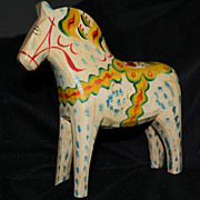 SOLD Old Carved Dala Horse Bought in Sweden in 1950s