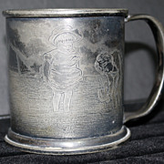 Reed & Barton Child's Cup Engraved With Seashore Scene