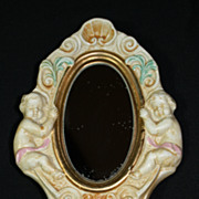 Old Italian Matte Glazed Porcelain Mirror and Bud Vase