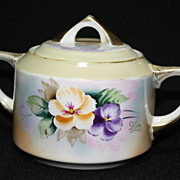 Meito China Sugar Bowl, Handpainted by S. Kate