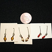 Set of Three Glass Bead Earrings for Small to Medium Bisque Doll