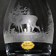 German Hand-Etched Heavy Glass Decanter with Elk and Tree Design