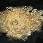 SALE PENDING Antique golden blonde mohair doll wig for 25 inch German bisque