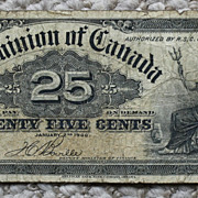 1900 Dominion of Canada 25 Cent Banknote