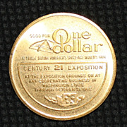 SALE PENDING 1962 Seattle World�s Fair One Dollar Medal/Token