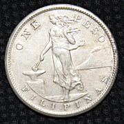 1909 S One Philippine Peso Coin - .800 silver