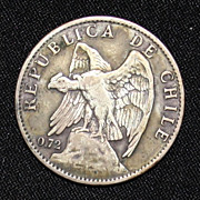 1915 Chile One Peso Coin - 72% Silver