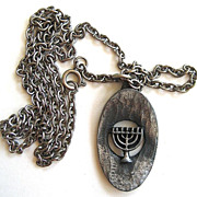 SALE Silver Tone Menorah Pendant