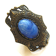 SALE Brass and Blue Glass Cabochon Filigree Adjustable Ring