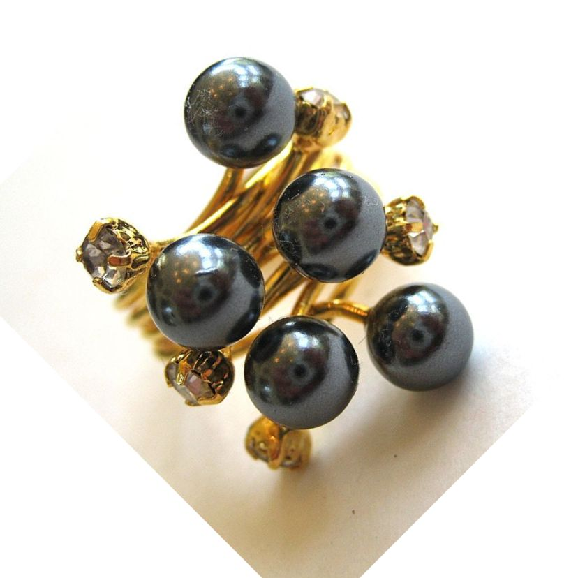 Gold Tone Faux Pearl and Rhinestone Ring