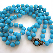 SALE Double Strand Blue Plastic Faceted Bead Necklace