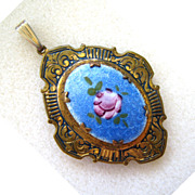 SALE Brass Locket Pendant with Enameled Floral Plaque