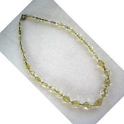 Unsigned Yellow Glass Crystal Bead Necklace